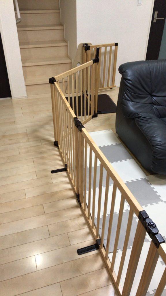 日本育児木製パーテーションFLEX400-Wを設置した様子
